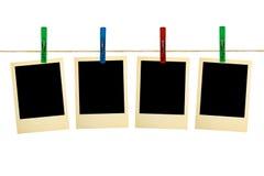 Retro- Fotographie auf Clothespins Stockbild