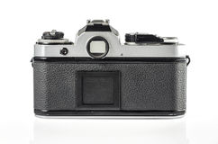 Retro- Fotokamera lokalisiert auf Weiß Stockfotografie