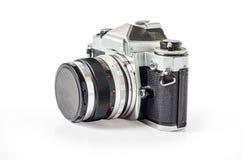 Retro- Fotokamera lokalisiert auf Weiß: Beschneidungspfad Lizenzfreie Stockbilder