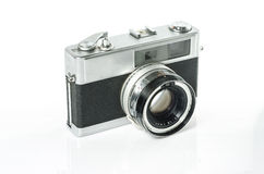 Retro- Fotokamera lokalisiert auf Weiß: Beschneidungspfad eingeschlossen Stockbild