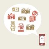 Retro- Fotokameras im Telefon Lizenzfreie Stockbilder