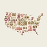 Retro- Fotokameras in US-Form Stockfotografie