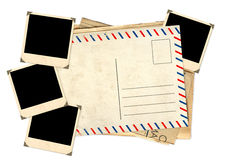 Retro- Fotos und alte Postkarte Stockfotografie