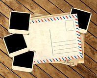 Retro- Fotos und alte Postkarte Lizenzfreie Stockfotos