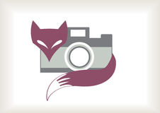 Retro fox with camera. Colorful simple retro fox with camera Stock Photography