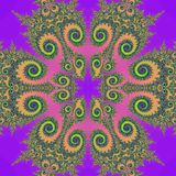 Retro fractal illustration. Retro design abstract fractal illustration in multiple colors on a purple background Royalty Free Stock Photos