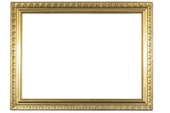Retro frame. Retro very old gold frame stock photo