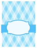 Retro frame / background. Blue argyle / harlequin background with frame. specially for baby themed / mother's day or any occasion greeting cards Stock Photography