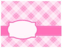 Retro frame / background. Pink gingham background with frame. specially for baby themed / mother's day or any occasion greeting cards Royalty Free Stock Photo