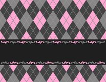 Retro frame / background. Pink and black argyle / harlequin background with frame. specially for baby themed / mother's day or any occasion greeting cards Stock Photos