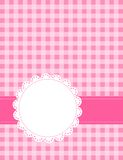 Retro frame / background. Pink gingham / squares background with frame. specially for baby themed / mother's day or any occasion greeting cards Stock Image