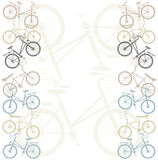 Retro Frame with bicycles. Retro Frame with colorful bicycles for your designs Royalty Free Stock Photos