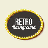 Retro frame circle with neon lights Stock Photography