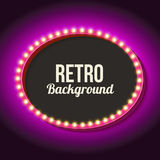 Retro frame circle with neon lights. Vintage frame with volumetric lights. 3d retro oval with a neon light. Realistic shape with an empty black space for your Royalty Free Stock Photos