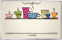 Retro frame with cup for tearoom menu Royalty Free Stock Image