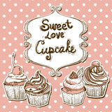 Retro frame with cupcake Royalty Free Stock Image