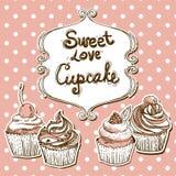 Retro frame with cupcake Royalty Free Stock Image