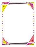 "Retro frame design featuring triangles and circle lights. This is a fun, retro frame design sized just right for an 8.5"" x 11"" printout. Use this layout for Stock Images"