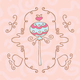 Retro frame with drawing candy on a stick Royalty Free Stock Photos
