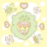 Retro frame with drawing strawberry Royalty Free Stock Photography