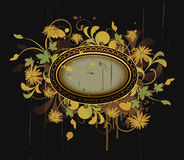 Retro frame with floral elements Stock Photos