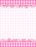 Retro frame gingham. Pink gingham / squares and flowers background with frame. specially occasion greeting cards & invitations Royalty Free Stock Photography