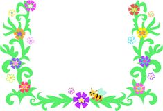 Retro Frame of Leaves, Vines, Bee, and Flowers Stock Photo