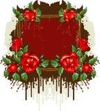 Retro frame met de rozen Stock Fotografie