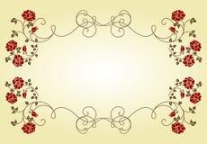 Retro frame met rozen. royalty-vrije illustratie