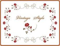 Retro frame met rozen. Royalty-vrije Stock Foto's