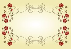 Retro frame with roses. Stock Photo