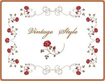 Retro frame with roses. Royalty Free Stock Photos