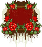 Retro frame with the roses Stock Photography