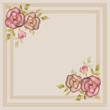 Retro frame with roses on beige Royalty Free Stock Image
