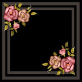 Retro frame with roses on black Stock Photo