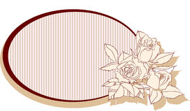 Retro frame with roses. And striped background within the frame Royalty Free Stock Images