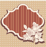Retro frame with roses. And striped background within the frame Royalty Free Stock Photography