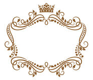 Retro frame with royal crown. And flowers for wedding or heraldry design Royalty Free Stock Photos