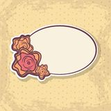 Retro Frame on Spotted Background. Retro frame with abstract roses on light spotted background vector illustration