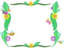 Retro Frame van Bladeren, Bloemen en Insecten stock illustratie