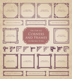 Retro frames, corners and calligraphic design elements Royalty Free Stock Photography