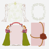 Retro frames. With girls and sealing wax stamp stock illustration