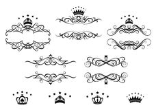 Retro frames set with royal crowns Royalty Free Stock Image
