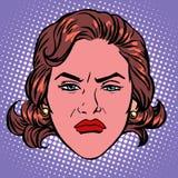 Retro framsida för Emoji ond föraktkvinna royaltyfri illustrationer