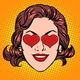 Retro framsida för kvinna för Emoji förälskelsehjärta royaltyfri illustrationer