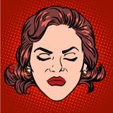 Retro framsida för kvinna för Emoji ilskaursinne stock illustrationer