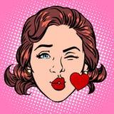 Retro framsida för kvinna för hjärta för Emoji förälskelsekyss Royaltyfri Foto