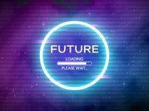 Retro framtid för tekniskt fel Glödande neoncirkel Rund ram med datapäfyllning Utrymmebakgrund och futuristiskt begrepp med stock illustrationer