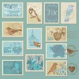 Retro francobolli dell'uccello Fotografia Stock Libera da Diritti