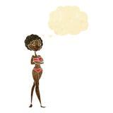 Retro- Frau der Karikatur im Bikini mit Gedankenblase Lizenzfreie Stockbilder